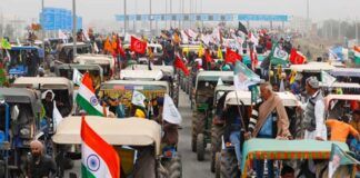 Farmers participate in 'tractor rally' on the outskirts of New Delhi