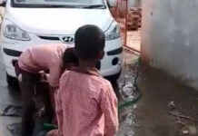 Student Cleaning Teacher's Car in UP